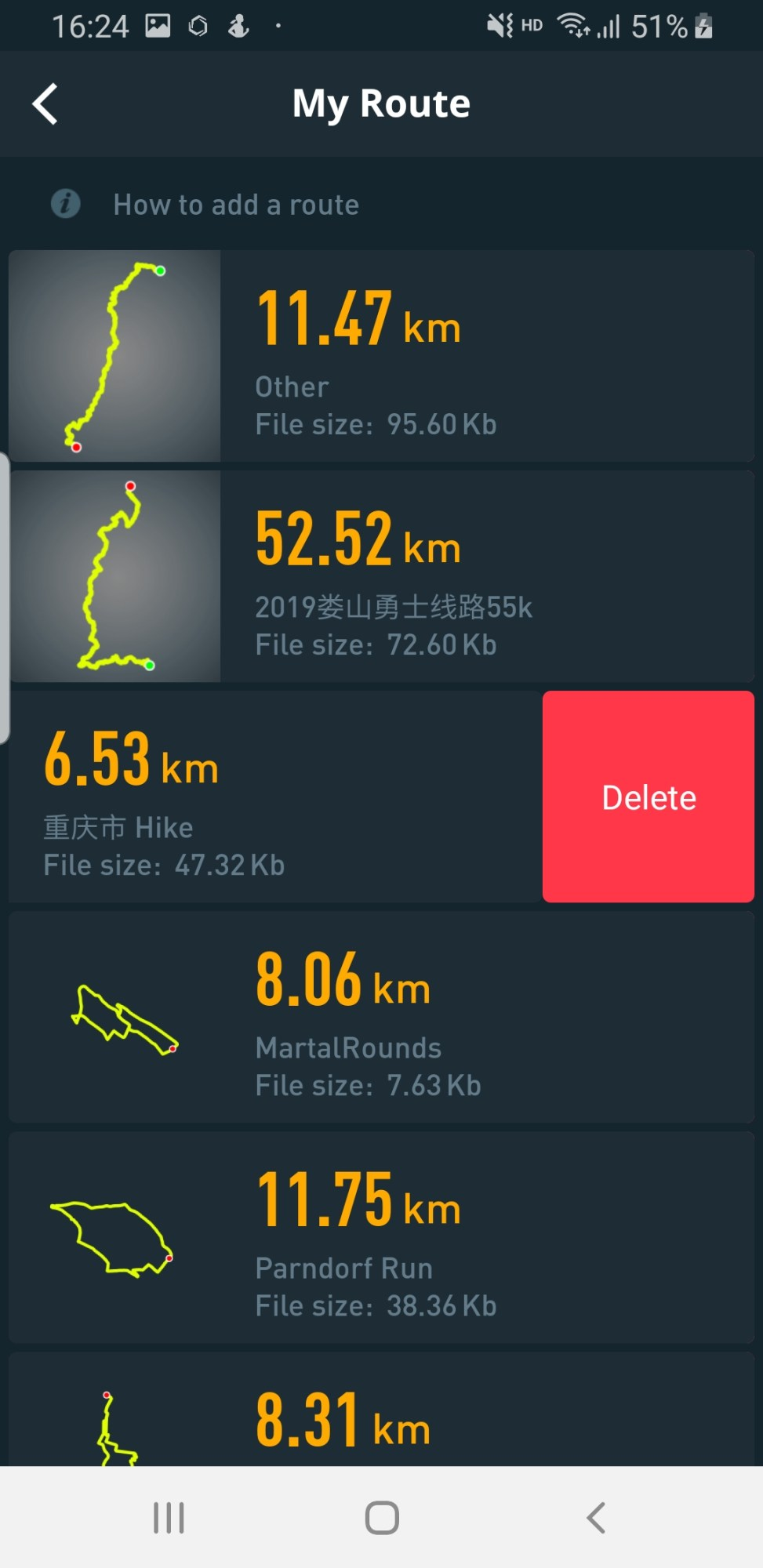 Coros App: Delete route