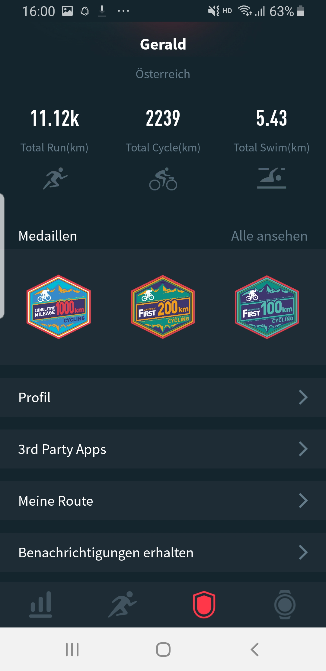 "Coros App: Profil-Seite, ""Meine Route"""