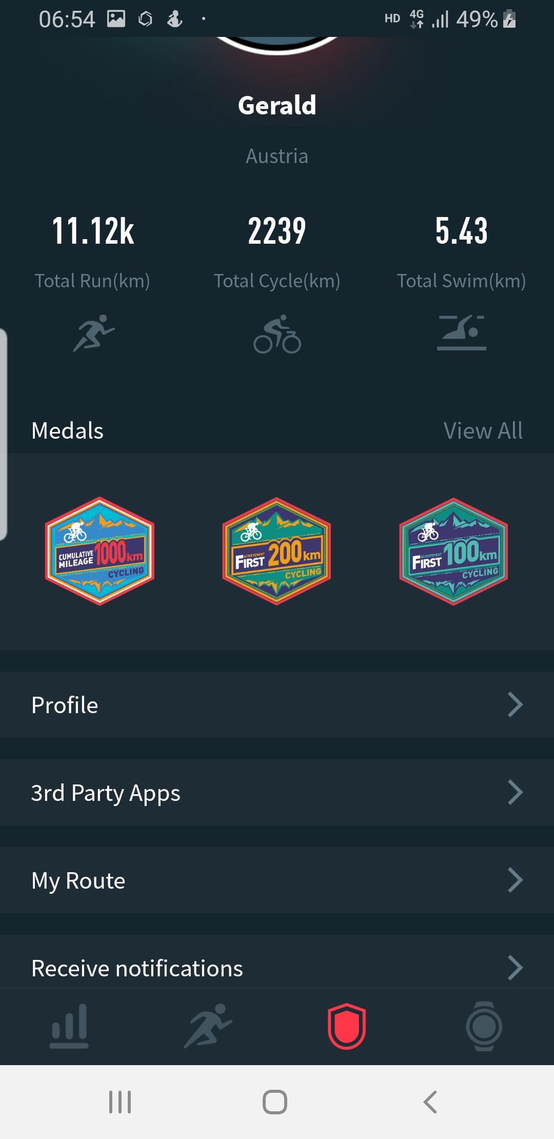 Coros App: Profile page
