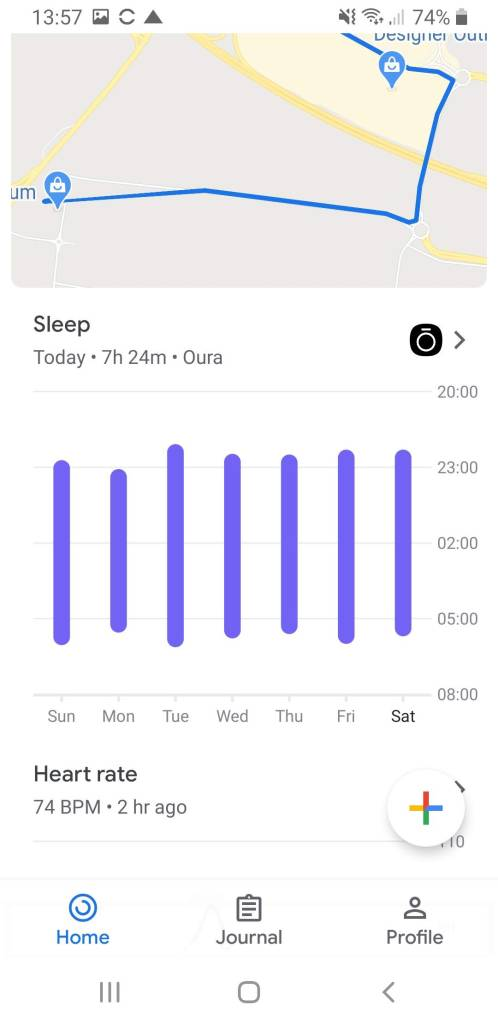 Google Fit Overview of Sleep Data