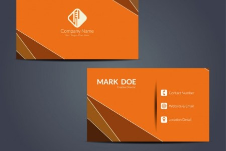 Orange modern business card template   free vectors   UI Download Orange modern business card template