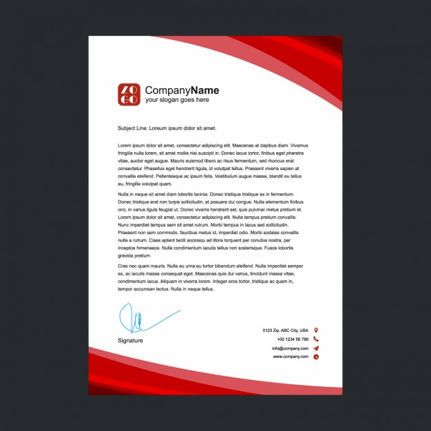 Red Letterhead Design Free Vectors UI Download