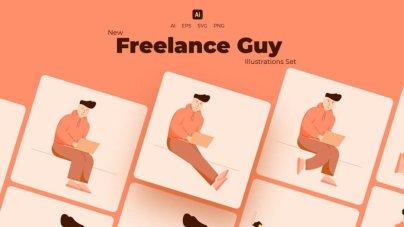 Freelance Guy Illustrations Set- uifreebies.net