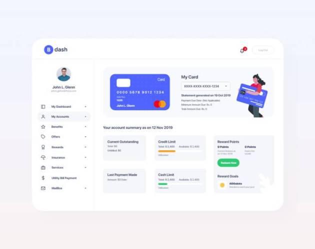 Bankdash Dashboard UI Design- uifreebies.net