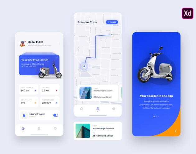 E Scooter App Free - UI Freebies