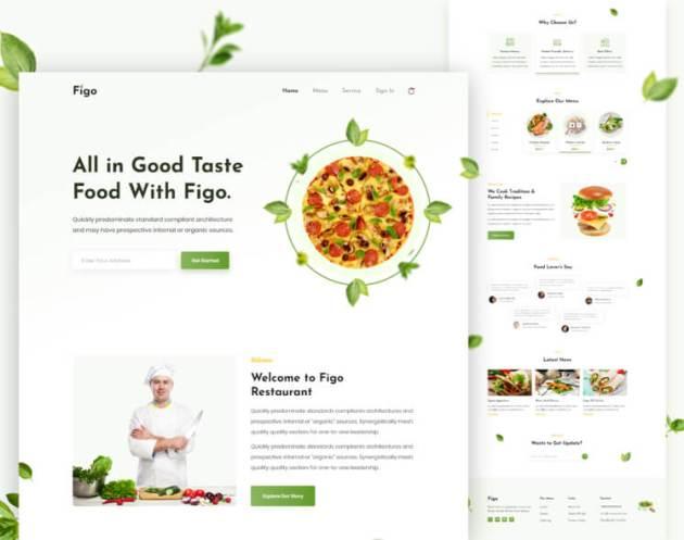 Figo Restaurant Landing Page Free