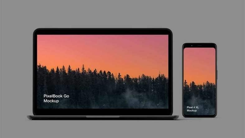 Pixel 4 and PixelBook Go Free Mockup