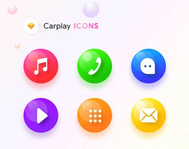 Carplay Icons Sketch - uifreebies.net