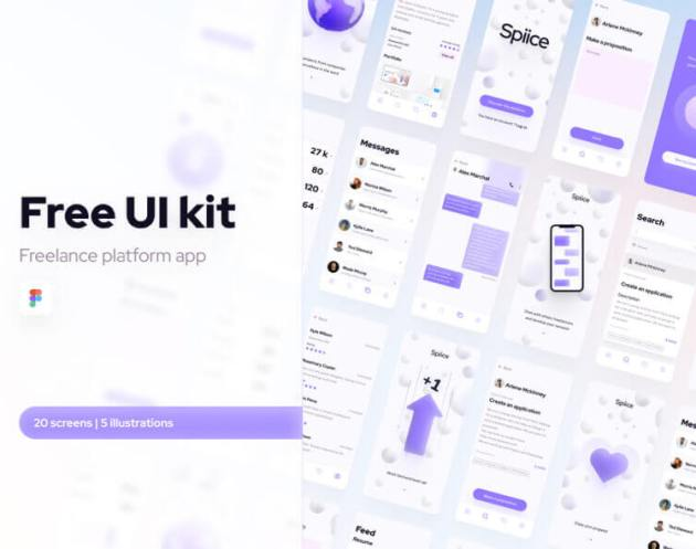 Free UI kit Freelance Platform App - uifreebies.net