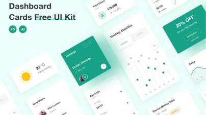Dashboard Cards – Free UI Kit - uifreebies.net