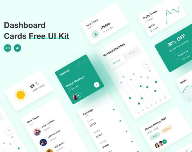 Dashboard Cards – Free UI Kit- uifreebies.net