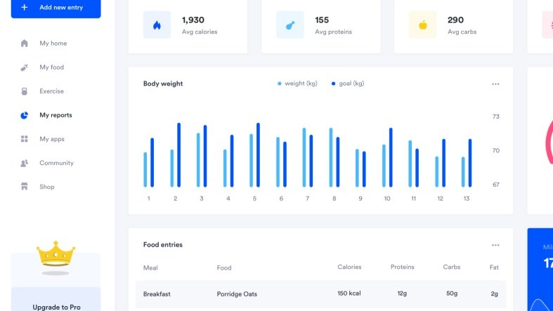 My Fitness Pal Dashboard Free for Sketchapp