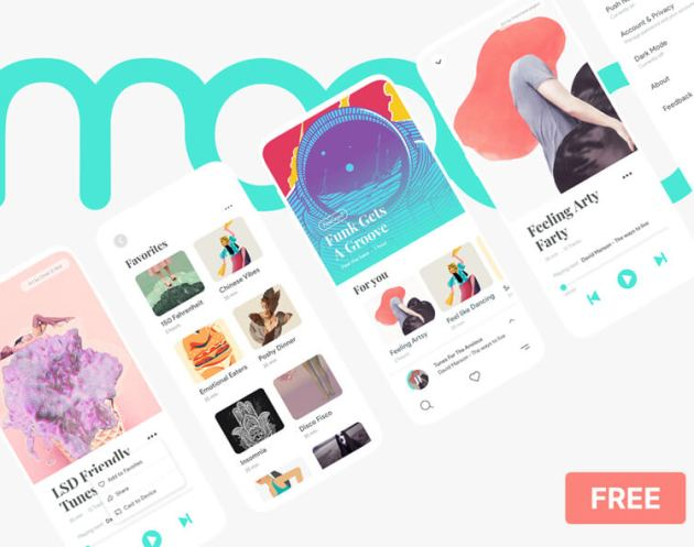 Moood Music App UI Kit - uifreebies.net
