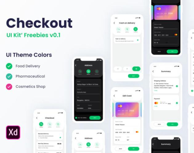 Checkout Free UI KIT - For Adobe XD - uifreebies.net