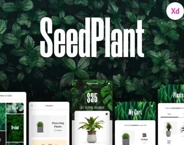 SeedPlant Free eCommerce App UI Kit- uifreebies.net