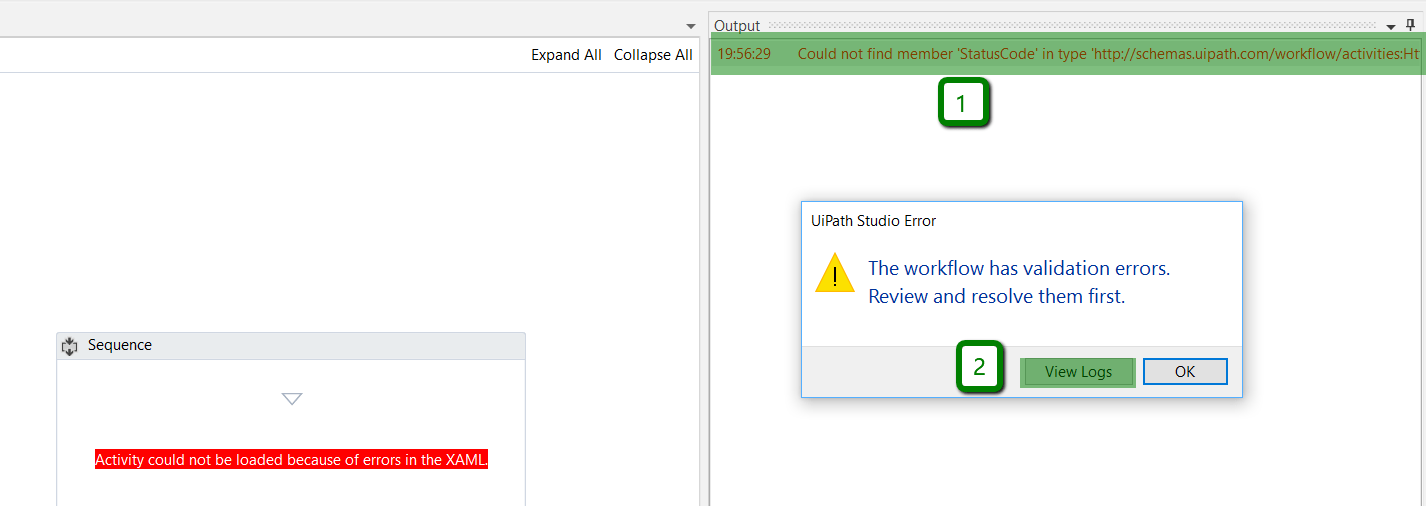 Activity could not be loaded because of errors in the XAML