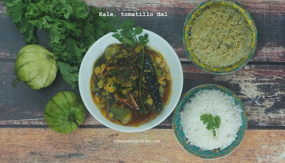 Kale, tomatillo toor dal lentils
