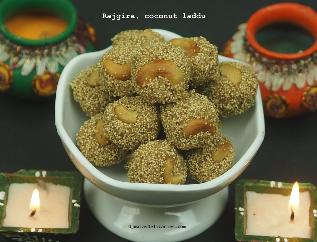 Rajgira, coconut and brown sugar laddu.