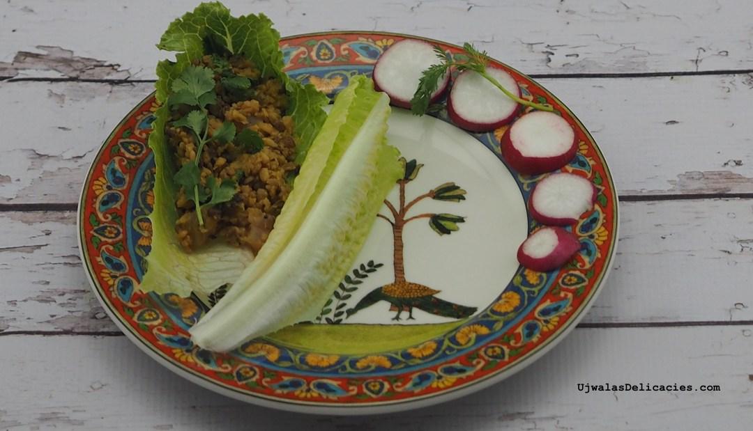 Radish, Mung dal lettuce wrap