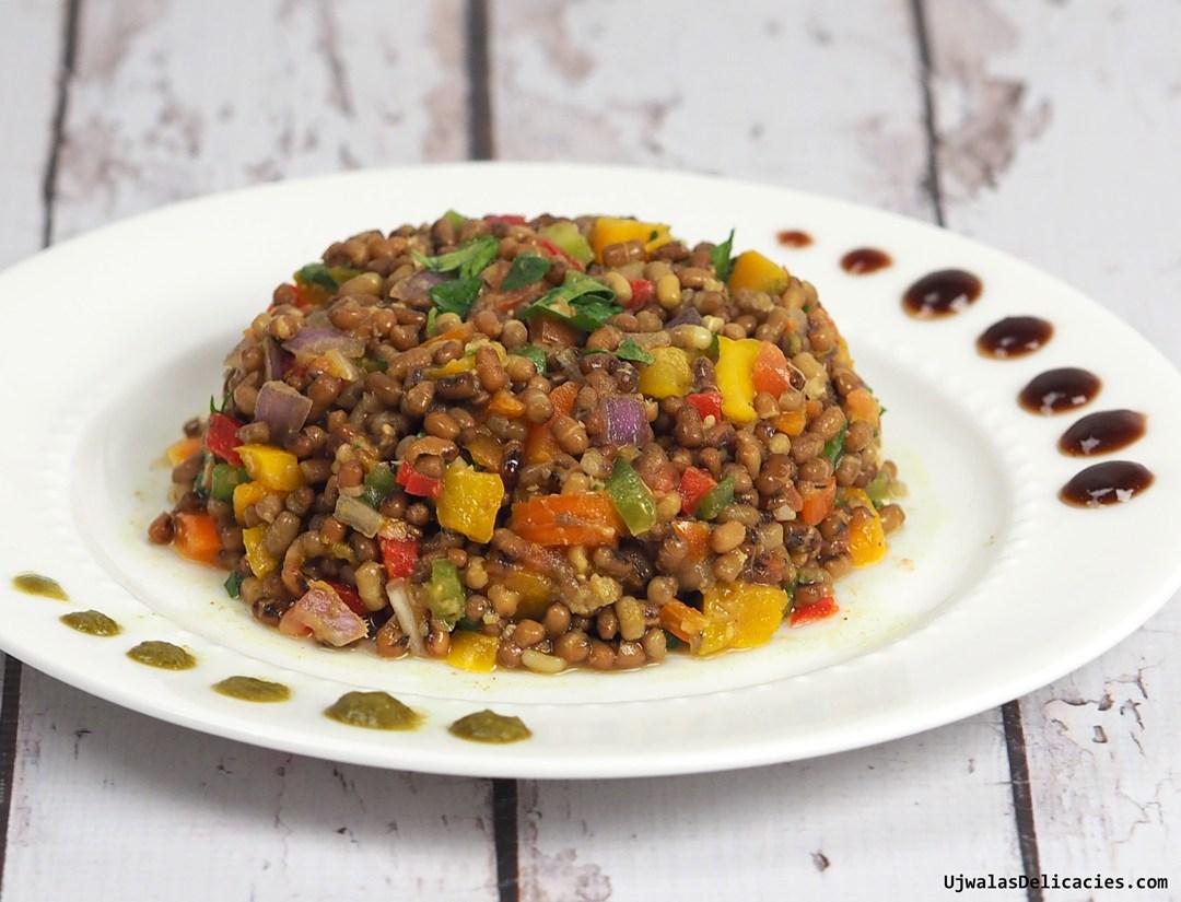 Moth bean chaat salad