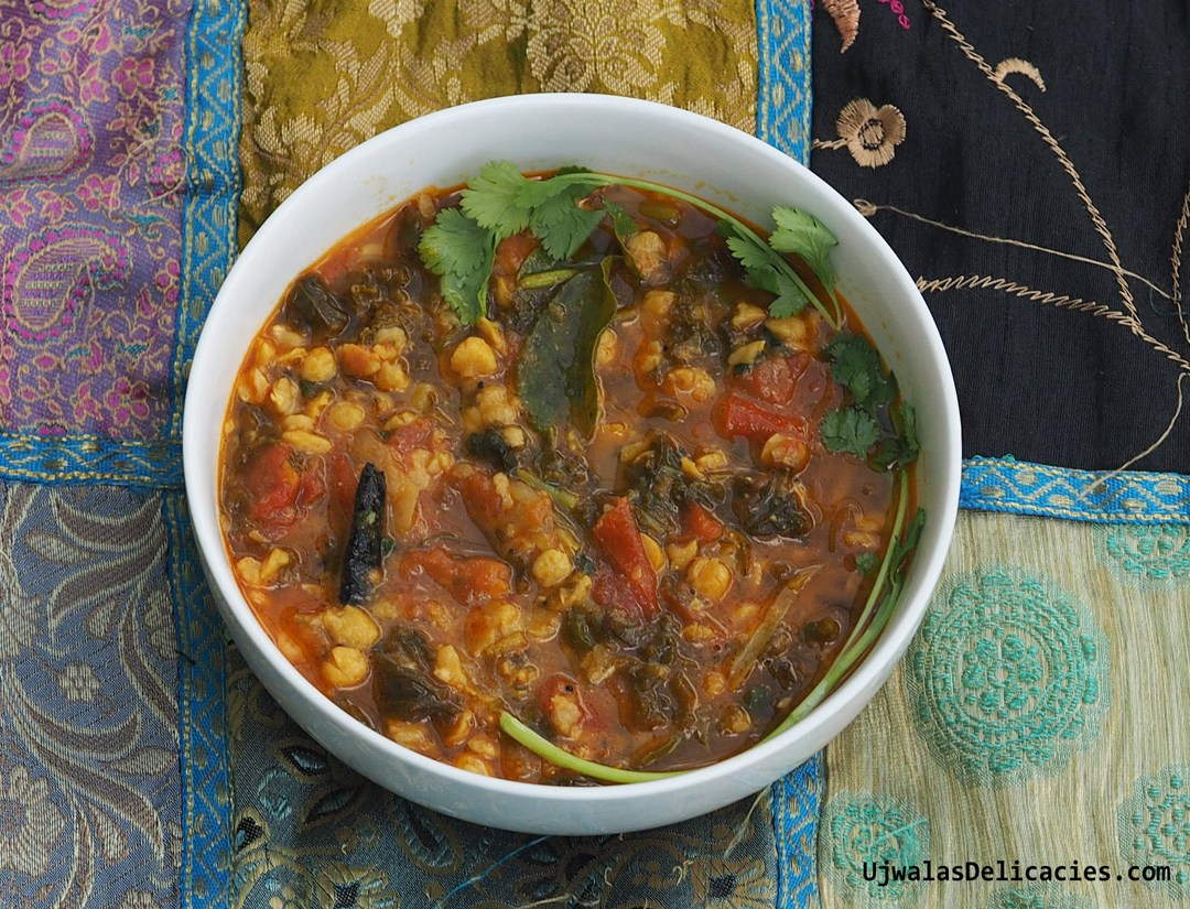 Kale, Tomato in Channa Dal