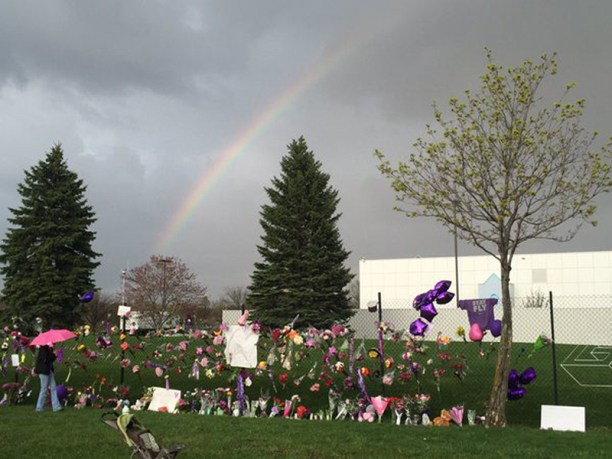 A rainbow appears over Prince's Paisley Park estate hours after his death.