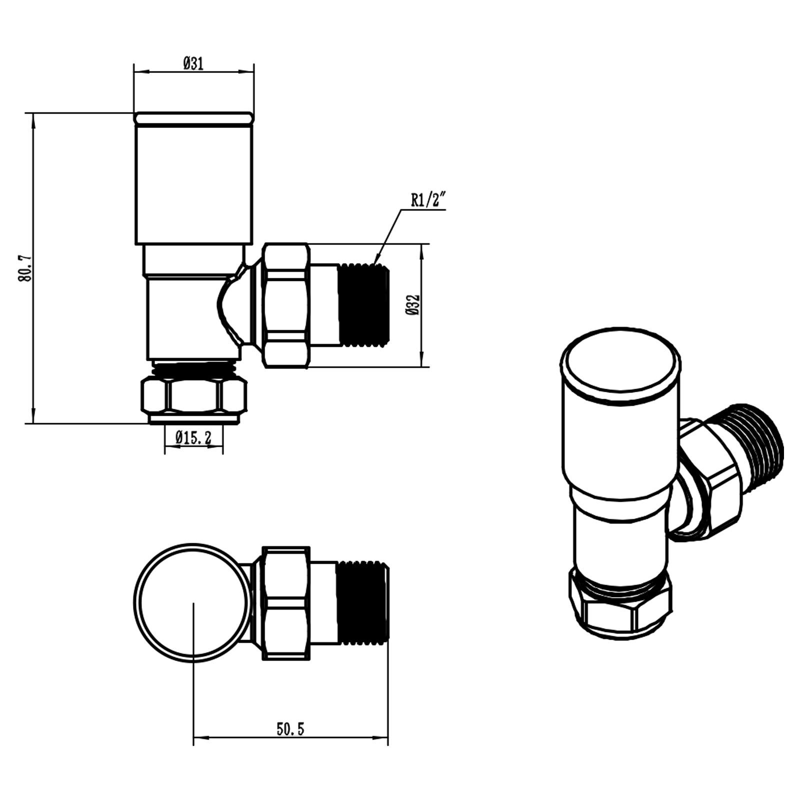 Chrome 15mm Pipe Connection Radiator Valves