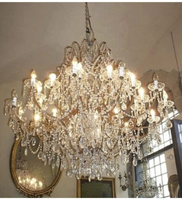 Antique Crystal Drop 24 Light Chandelier