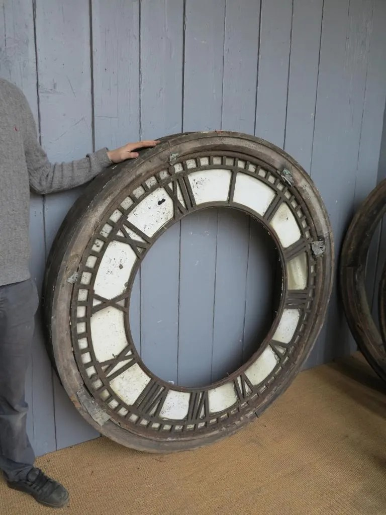 Antique Cast Iron Clock Faces With Wooden Frames