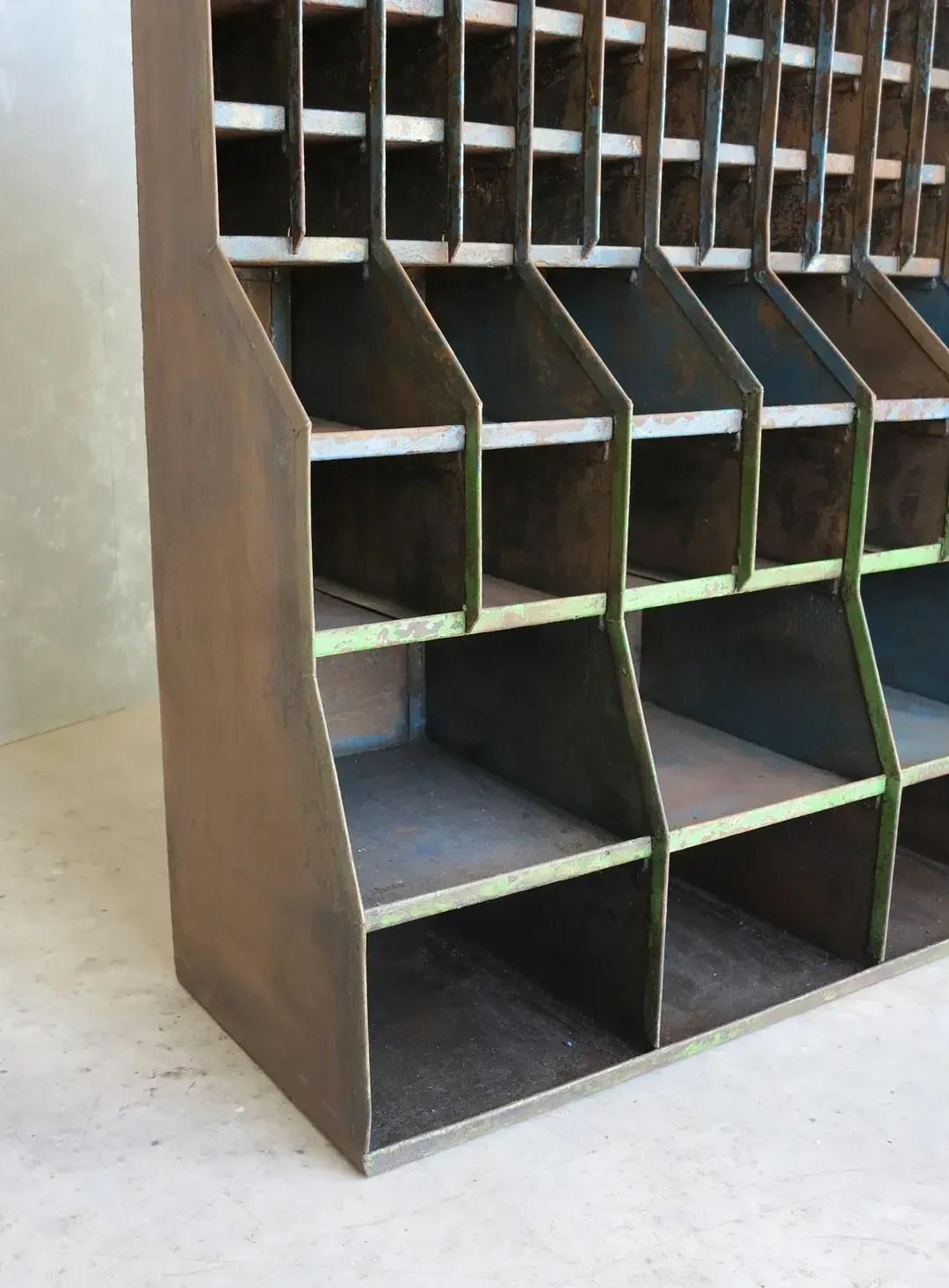 Vintage Floor Standing Metal Shelving Rack Industrial