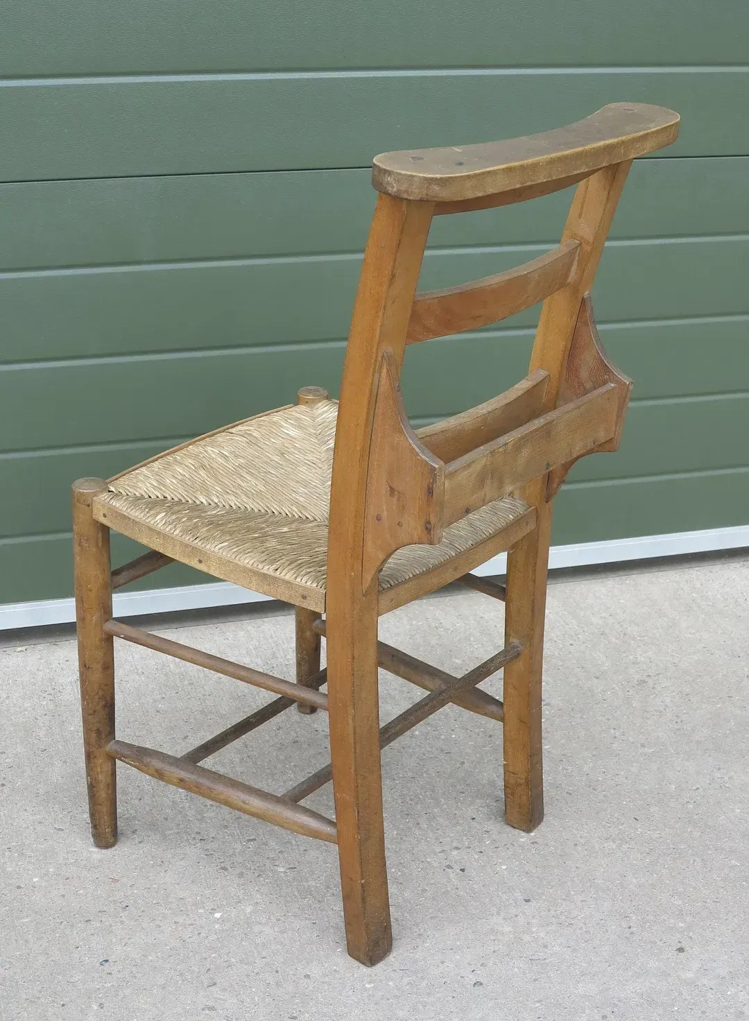 Antique Rush Seated Church Chairs With Bible Holders
