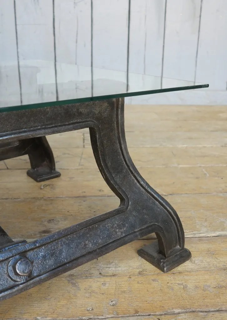 Industrial Glass Amp Cast Iron Coffee Table