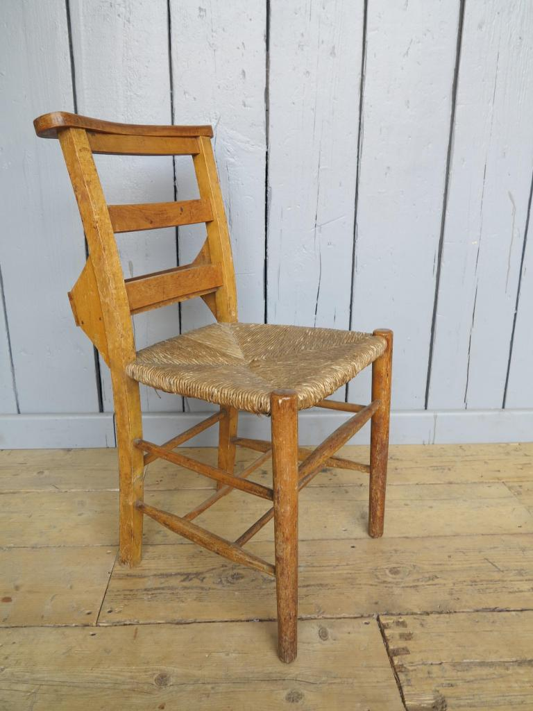 6 Available Rush Seated Antique Church Chairs With Book