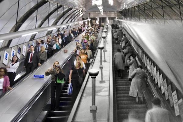 Escalateur de Londres, entre aujourd'hui et 1939.