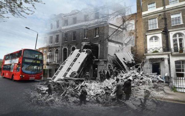 9 septembre 1940 à Harrington Square, Mornington Crescent le lendemain d'un raid.