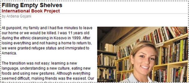 An immigrant who shipped 15,000 books to Kosova