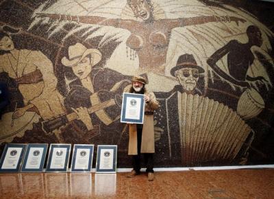 Albanian artist creates world's largest coffee bean mosaic
