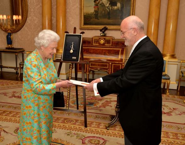 Queen Elizabeth II with Mr Mal Berisha the Ambassador of Albania, during a private meeting as he presents his Credentials in Buckingham Palace central London.
