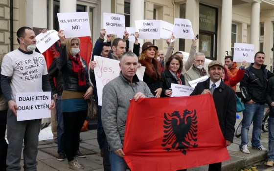British Albanians protest against Albania being picked as the destruction site of Syrian chemical weapons in front of Albanian Embassy in London, 14.11.2013