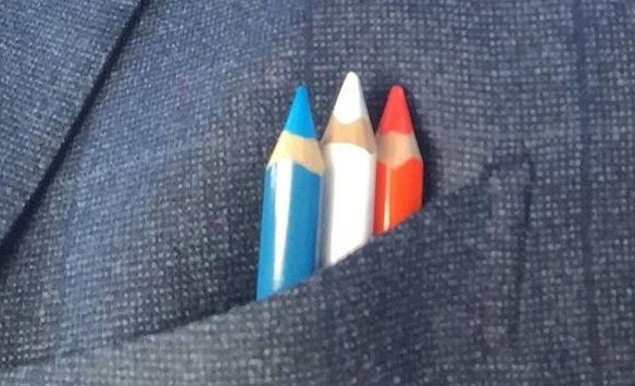 Edi Rama, an artist turned politician wore Tricolour pencils in his breast pocket