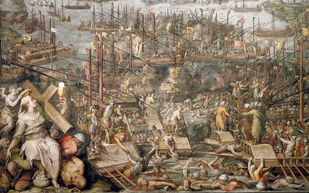 Disaster: a detail from Giorgio Vasari's painting of the Battle of Lepanto, at which Giovanni Bruni was killed