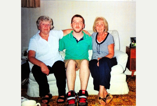 HELP: Astrit Bunjaku, centre, is being helped to finish his studies in this country. He is pictured here with his former landlady in Grimsby, Ann James, left and Pamela Borrill.