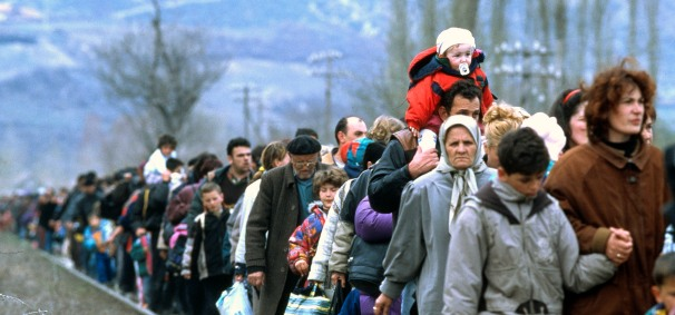 Albanian refugees leaving Kosovo, March 1999.