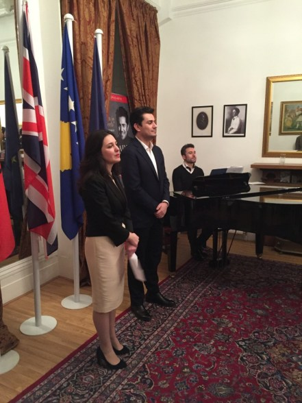 Ms. Entela Gjika, the Chargé d'Affaires, welcoming Mr Pirgu and guests and the Albanian Embassy in London, 2nd February 2016