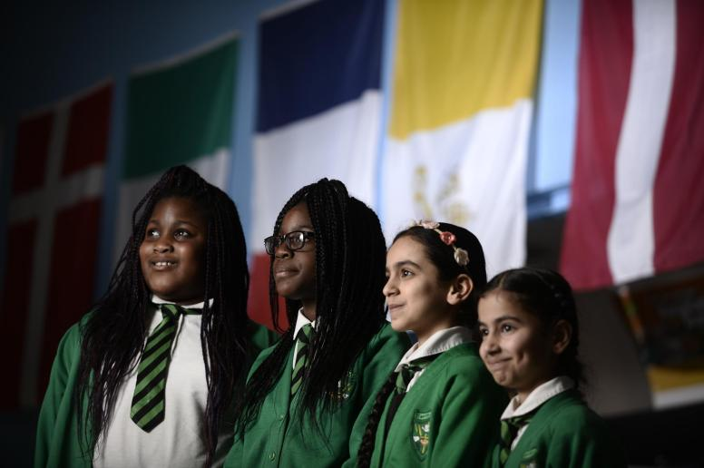 St Maria Goretti Primary School pupils rehearsing for a Many Cultures Make Glasgow