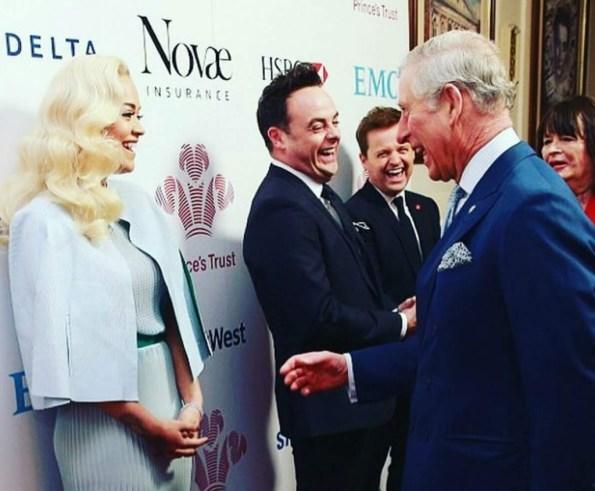 Rita Ora and Prince Charles at Prince's Trust awards ceremony, London Palladium , 07 March 2016