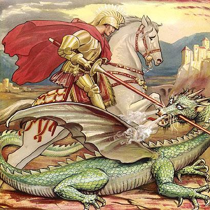 Ilustrim: Shën Gjergji duke luftuar dragoin