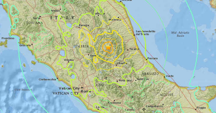A USGS map shows a magnitude-6.2 earthquake that struck in central Italy early Aug. 24, 2016, local time.