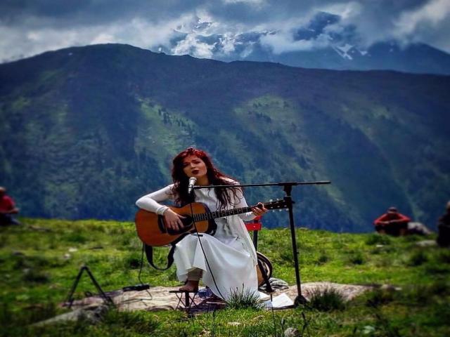 Singer Elina Duni with beautiful Albanian lanscape as a background. Photo: Facebook/Emmanuelle Nemoz