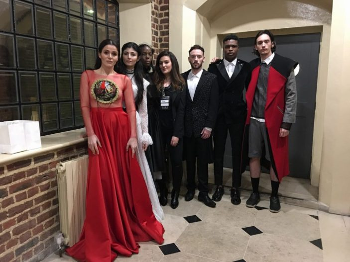 Yllka Brada (in the middle) and her fashion models in London, 18 February 2017